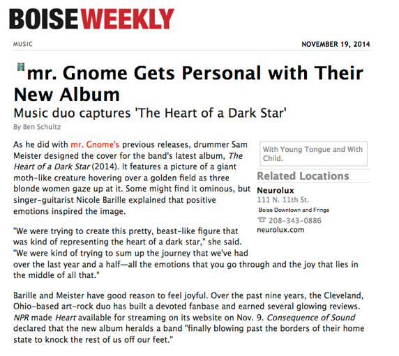 Boise Weekly - mr. Gnome Gets Personal with Their New AlbumNovember 2014READ MORE