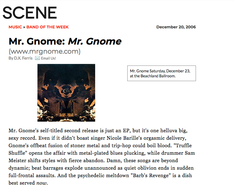 Scene Magazine - Band of the Week : Mr Gnome : Mr. Gnome EP (Self-Titled)December 2006READ MORE