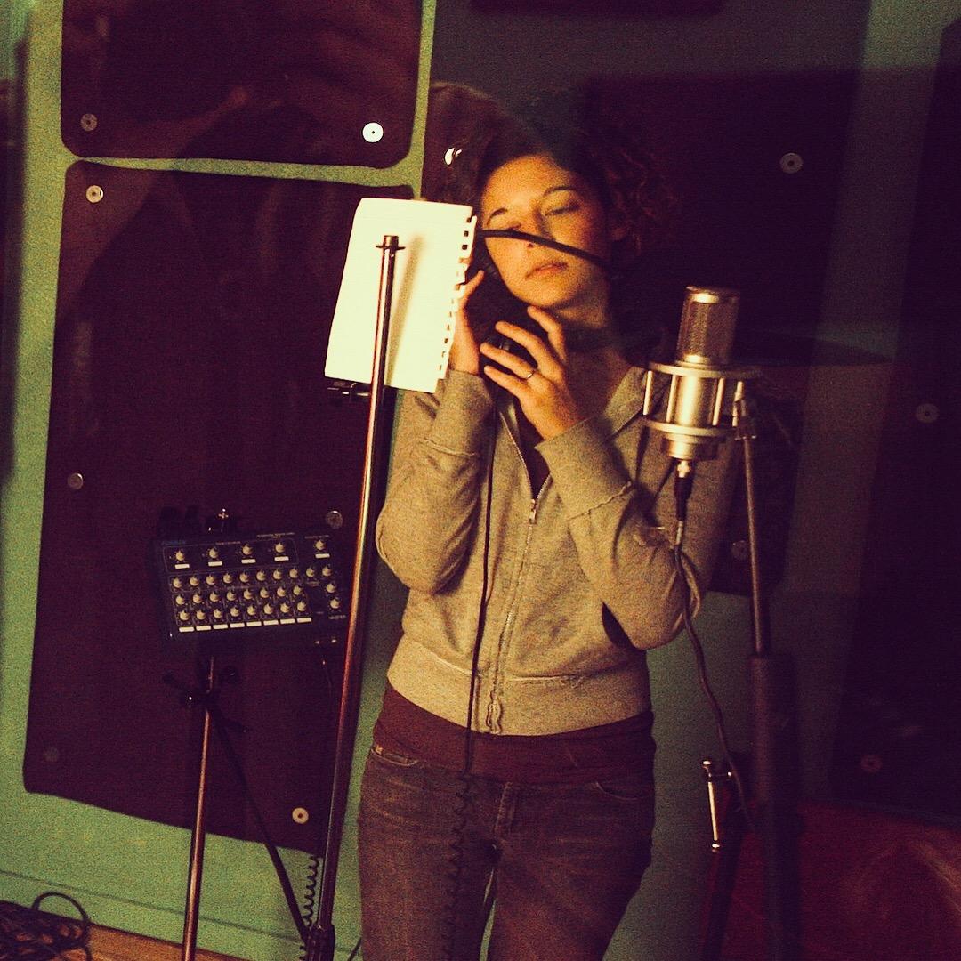 Nicole recording vocals at Jackpot Studios