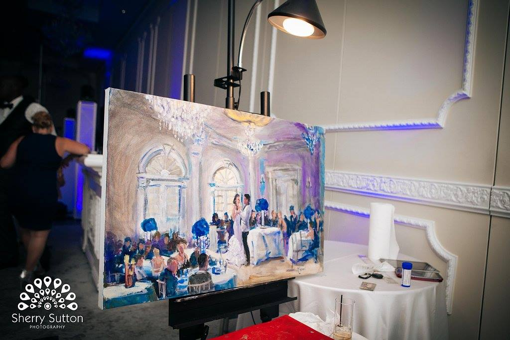 A Beautiful Live Event Painting Vividly Capturing the Beauty of The Wedding