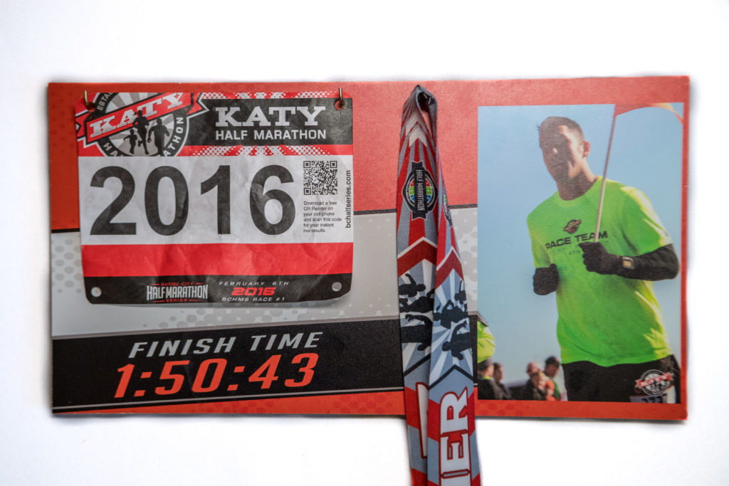 2016 Katy Half Marathon custom finisher's display. Custom design with race image and finish time printed on MDO.