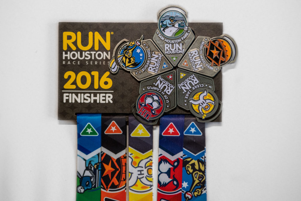 2016 Run Houston! Race Series Finisher Display given to participants that completed all five events.