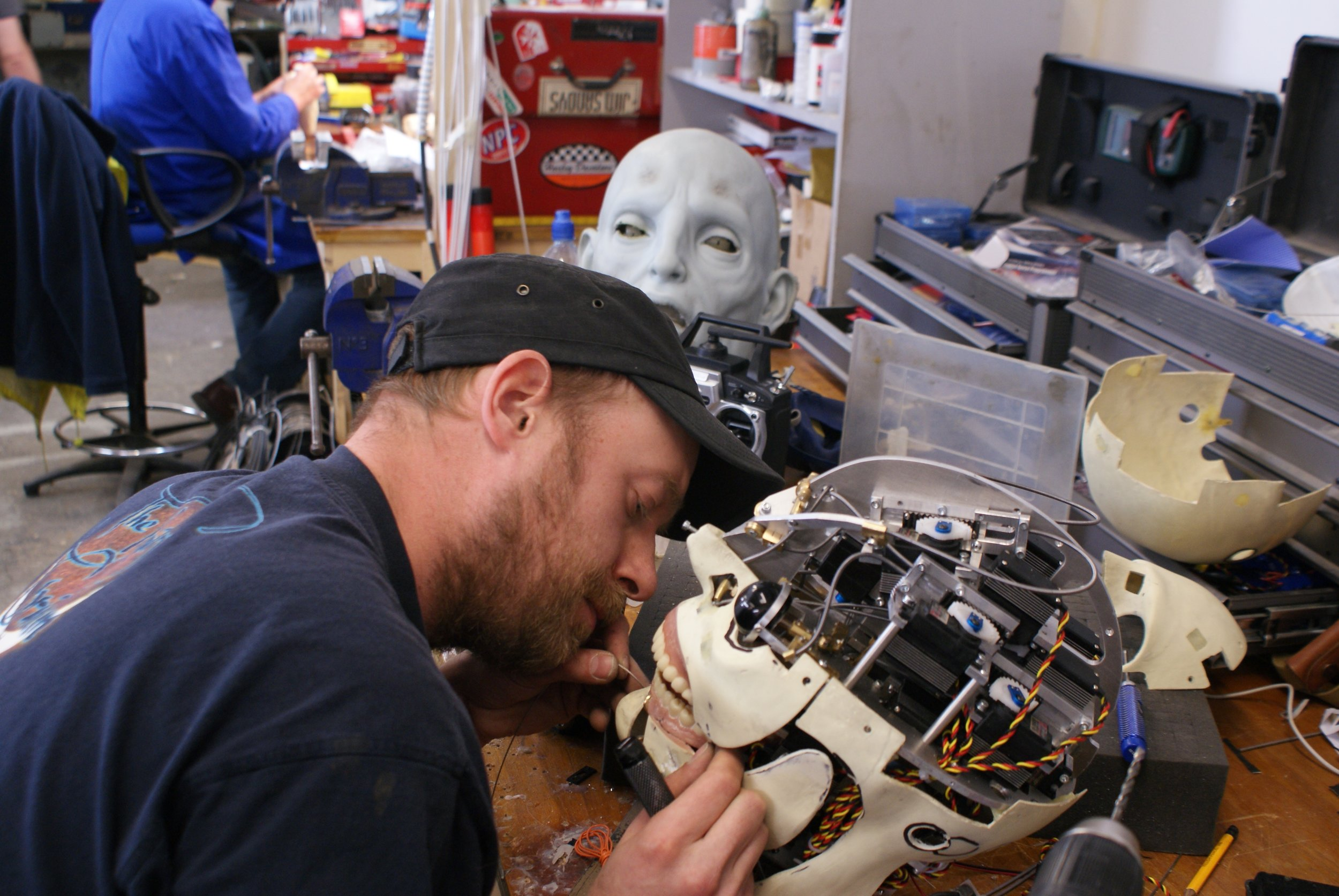 Gustav Hoegen building the animatronic engineer head.