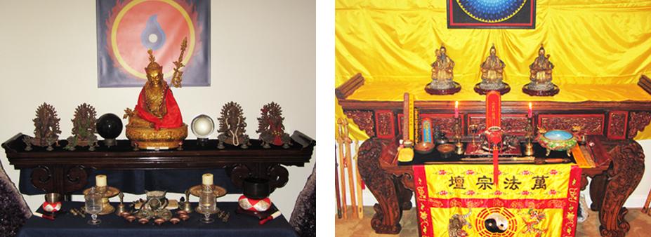 Left : Nyingma and Bon Tibetan Altar  Right : Zheng Yi Daoist Altar