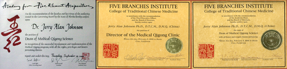 Left: Dean of the Medical Qigong Science Academy For Five Element Acupuncture Center: Director of the Medical Qigong Clinic Five Branches Institute – College of Traditional Chinese Medicine Right: Dean of the Medical Qigong Science Five Branches Institute – College of Traditional Chinese Medicine