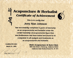 Certificate of Mastery Received after completing a 4,000 Hour Clinical Internship in Acupuncture, Herbs, Anmo, and Medical Qigong Therapy