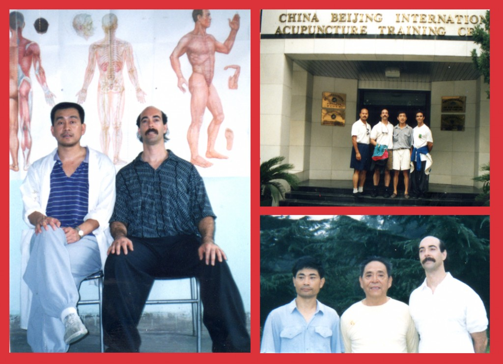 Left : Dr. Jerry Alan Johnson and Baguazhang Master Lu Guo Hong at the Hai Dian Clinic (Beijing, China)  Top Right : Dr. Johnson and Dr. Teng Yingbo at the China Beijing International, Acupuncture Training Center (Beijing, China)  Bottom Right : Chen Family Taijiquan Master Zhang Yu Fei, Grandmaster Feng Zhi Qiang, and Dr. Jerry Alan Johnson, (Beijing, China)