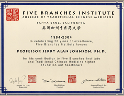 2004- Honored for Contribution for Higher Education and Healthcare (Five Branches Institute, College of T.C.M.)