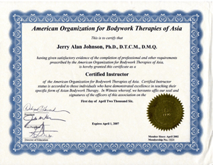 006- Approved as an A.O.B.T.A. Certified Instructor in Medical Qigong Therapy
