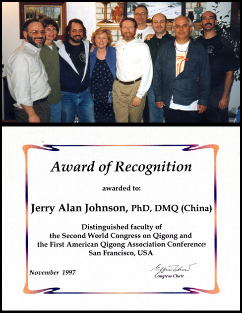 "Top : 1997- The Original Board of the N.Q.A.(I was an original Council Board Member of the National Qigong Association, and received the post as ""the Director of Medical Qigong Standards Committee""  Botton : 1997- Distinguished Faculty of the 2nd World Congress on Qigong"