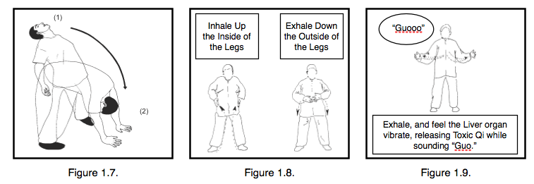 """Figure 1.7.  The """"Dry Crying"""" Prescription Exercise  Figure 1.8.  The Ascend the Yin and Descend the Yang Medical Qigong Channel Purging Technique.  Figure 1.9.  To Purge Liver Stagnation use the healing sound """"Guo"""""""