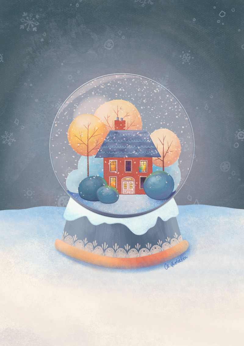 SNOWGLOBE HOUSE   ^ Digital: Photoshop CS5 + Wacom Cintiq 13HD.