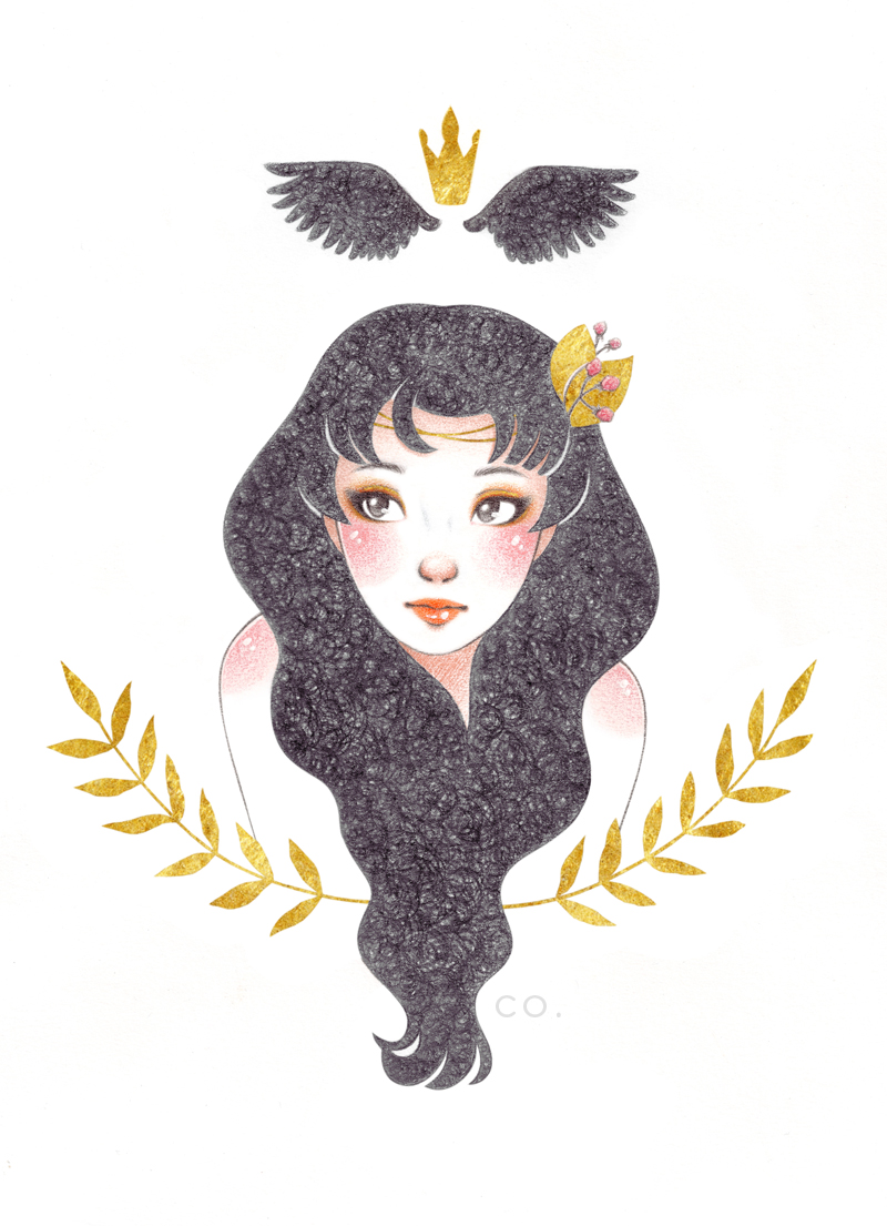 BLACKBIRD // ZORZAL   ^ Black and colored pencils (lápiz negro y de colores) + golden ink (tinta dorada) + white gel pen (lapicera de gel blanca) + Photoshop CS5.