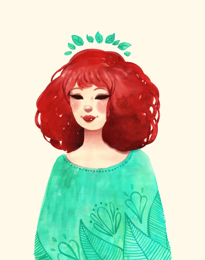 SPRING SPIRIT // ESPÍRITU DE PRIMAVERA   ^ Gouache (témperas) +colored pencils (lápices de colores) +  Photoshop CS5 + Wacom Cintiq 13HD.