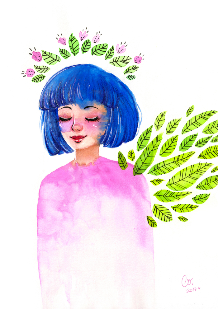 SPRING FRAGMENTATION // FRAGMENTACIÓN PRIMAVERAL   ^ Gouache (témperas) + fineliners (estilógrafos) + colored pencils (lápices de colores) + white gel pen (lapicera de gel blanca) + Photoshop CS5.
