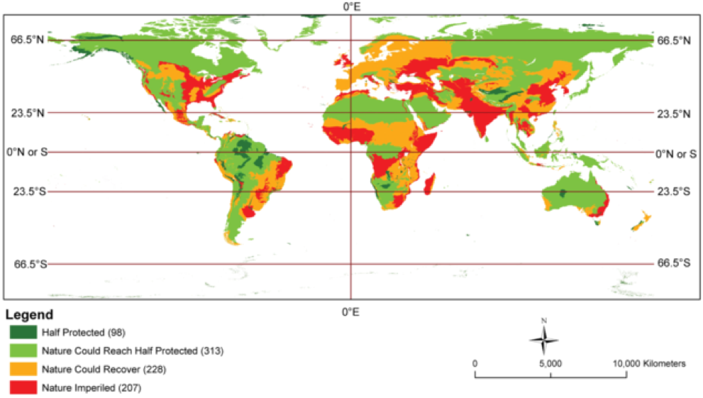 Figure 1.    Map    highlighting the ecoregions where half of intact landscapes are protects and those where such protection is possible