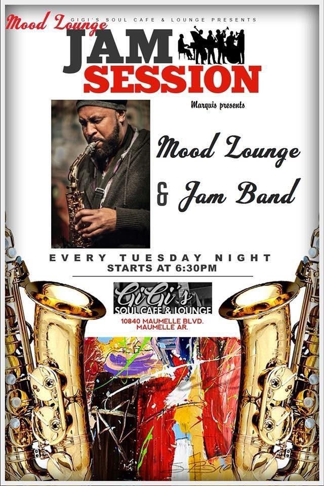 The hottest Jazz Jam in Central Arkansas happens right here every Tuesday night. Led by saxophonist  Marquis Hunt  featuring Mood. Bring your instrument and sit in with the band or just sit back, sip a cocktail and listen to the musical magic unfold.  **Admission is FREE**  Jazz Jam Session is designed for people who are both new & seasoned musicians playing music with others. You may bring print music, but will be encouraged to play from memory or by ear. Participation is FREE!