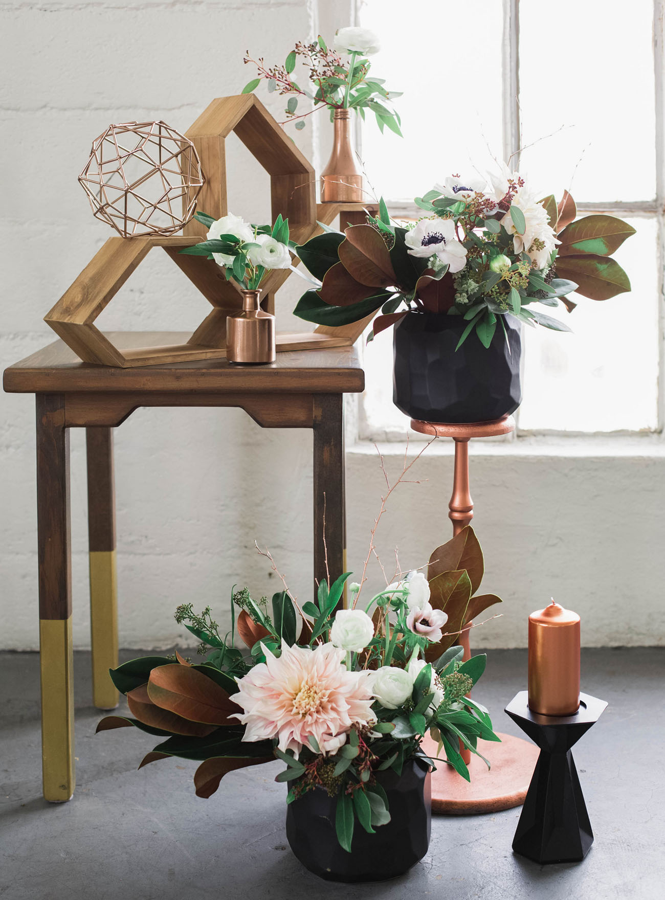 Industrial Chic - Large country houses and fairy-tale settings are giving way this year to more industrial venues accented with geometric metallic to complete that totally on-trend vintage style. Perspex and glass are also high on the fashion agenda, so if you can find an industrial greenhouse, you'll be ticking all the hot boxes! Copper has moved beyond the kitchen and into weddings. Copper fits nicely with the industrial vibe – think lamps, tables, chairs, place names etc. – all of which sets the scene beautifully for an autumnal palette. And, instead of bunting, we see photo montages or fabrics, this year's statement wall art is neon, so choose your design early, you can create your own bespoke neon here!