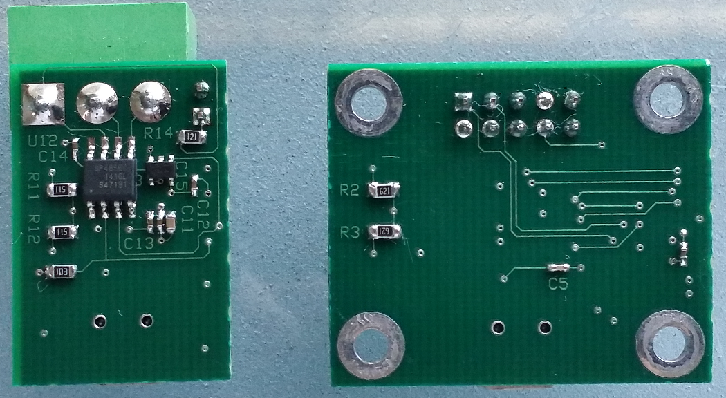 USB to RS485 (Left) and USB to RS232 (Right) PCBs, Bottom View