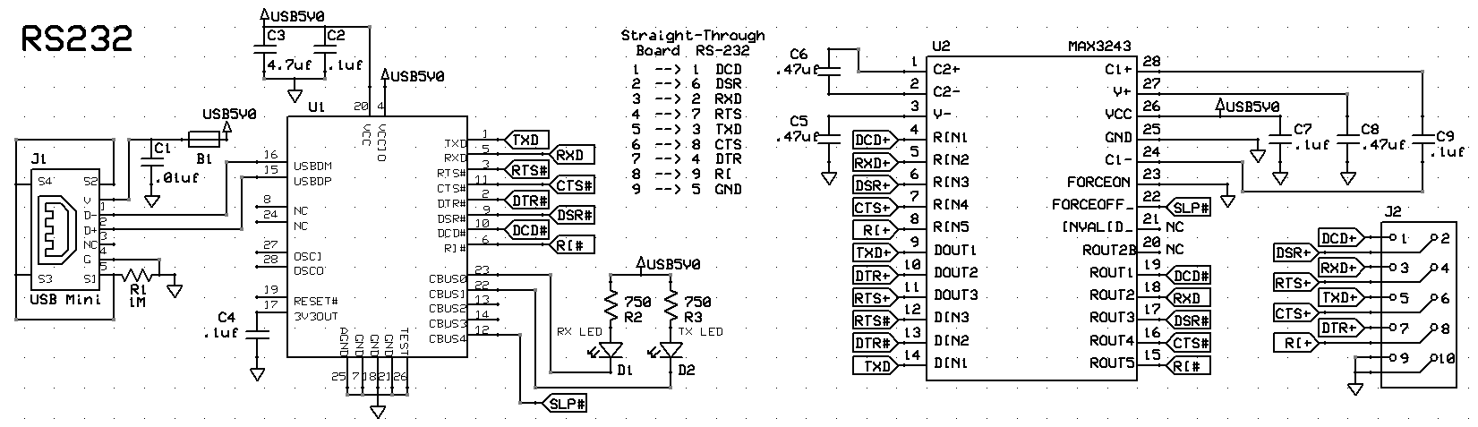 USB to RS232 Schematic