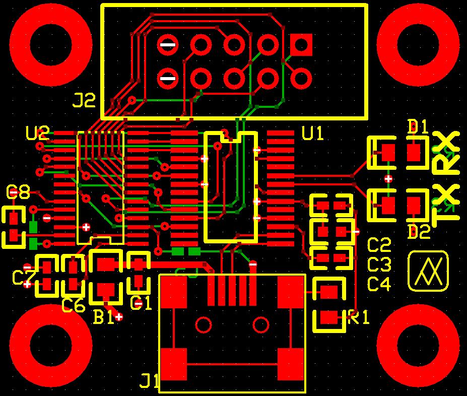 USB to RS232 Top, Bottom and Silkscreen Layers