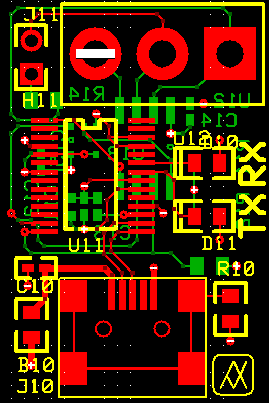 USB to RS485 PCB Top, Bottom and Silkscreen Layers