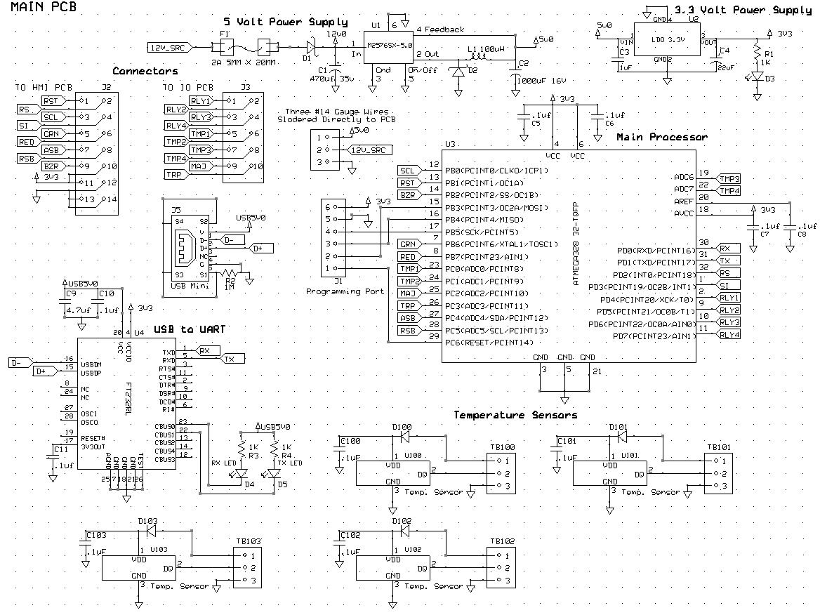Main Board And Temperature Sensors Schematic