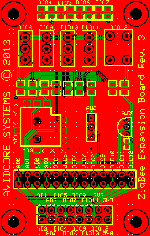 Zigbee Expansion PCB Top, Bottom and Silkscreen Layers