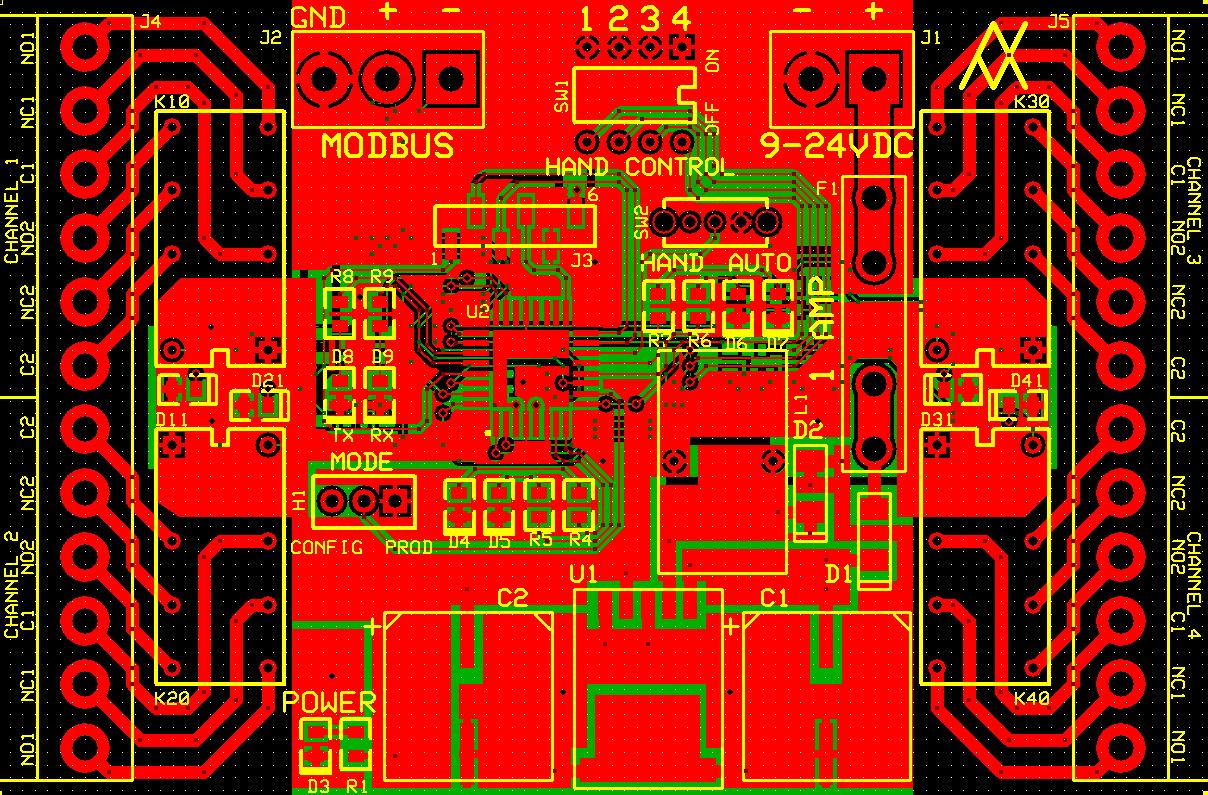 Modbus Relay Card PCB Top, Bottom and Silkscreen Layers