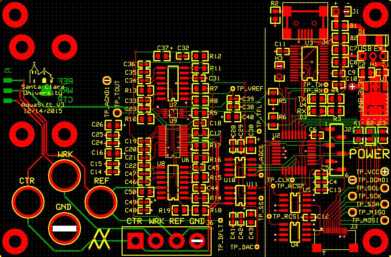 Potentiostat PCB Top, Bottom and Silkscreen Layers