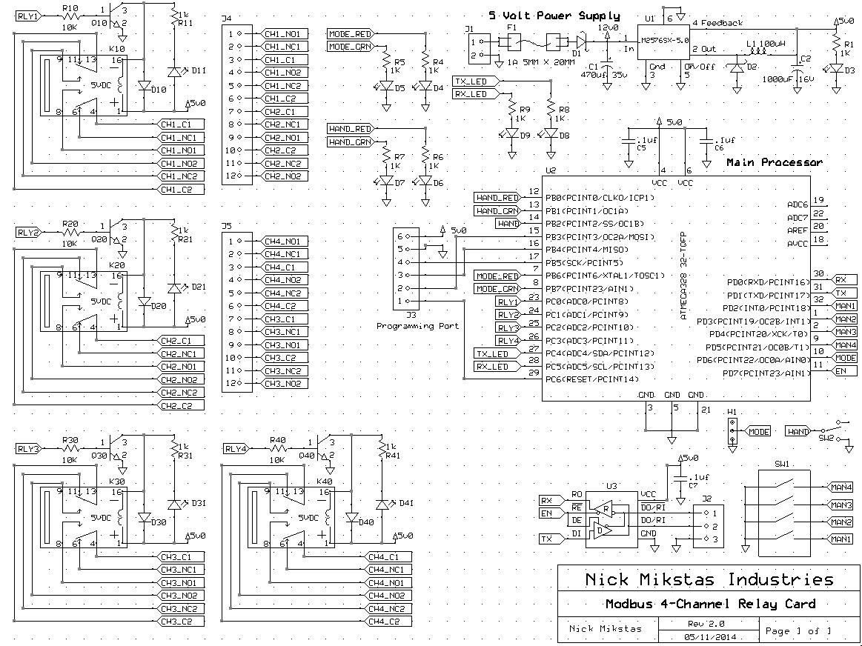 Modbus Relay Card Schematic
