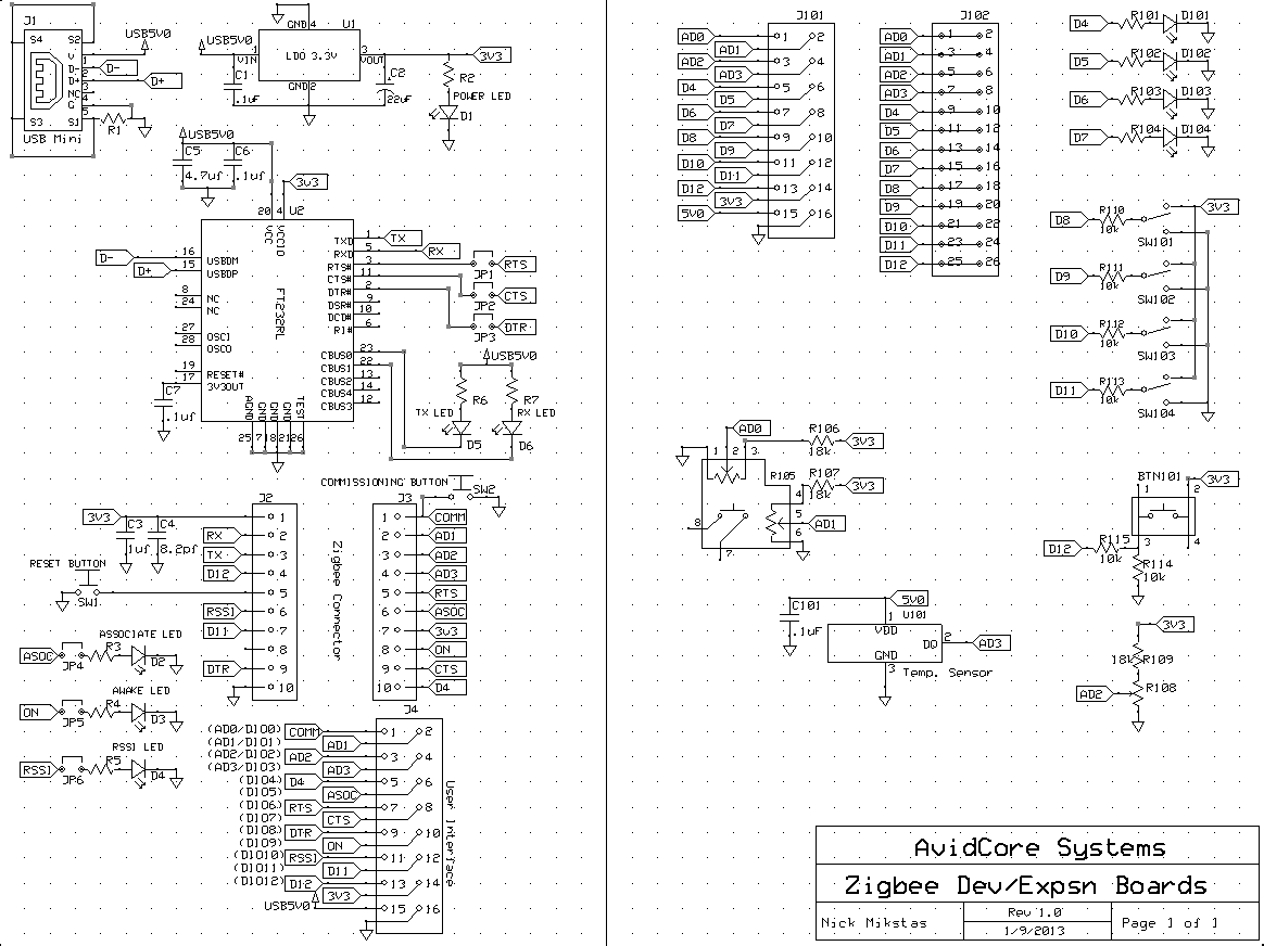 Zigbee Carrier and Expansion Schematic