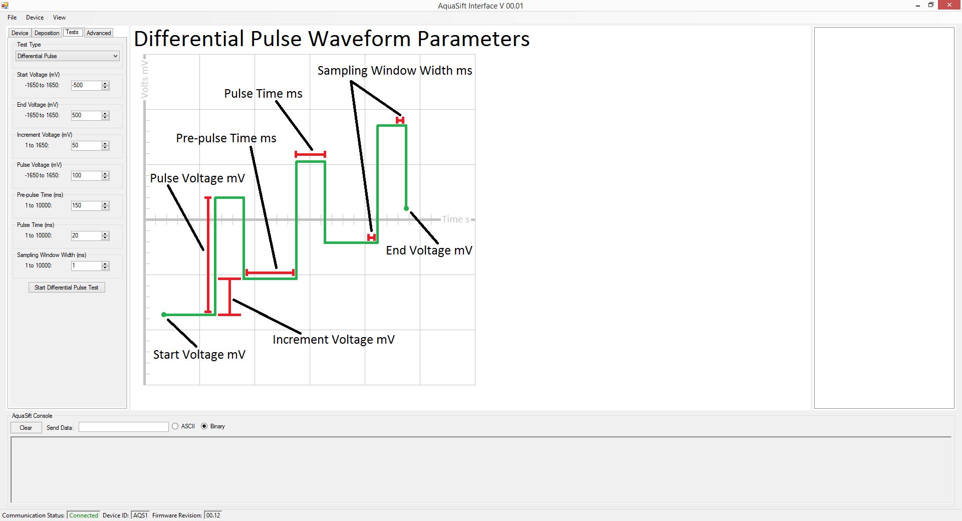 Aquasift Software Screenshot, Test Parameter Setup