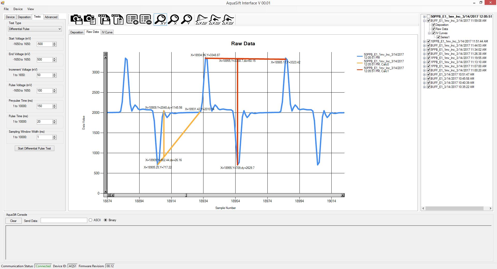 Aquasift Software Screenshot, Peak Measurements