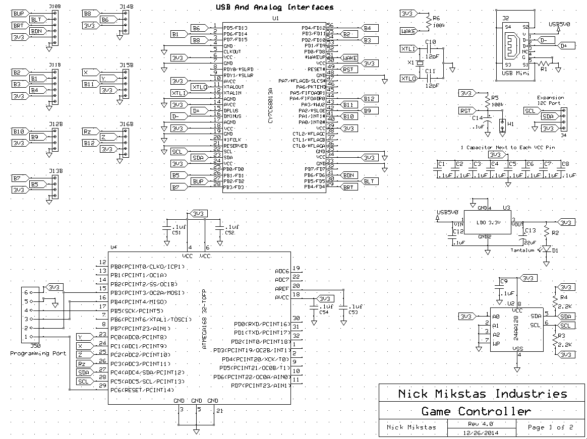 Video Game Controller Schematic Page 1