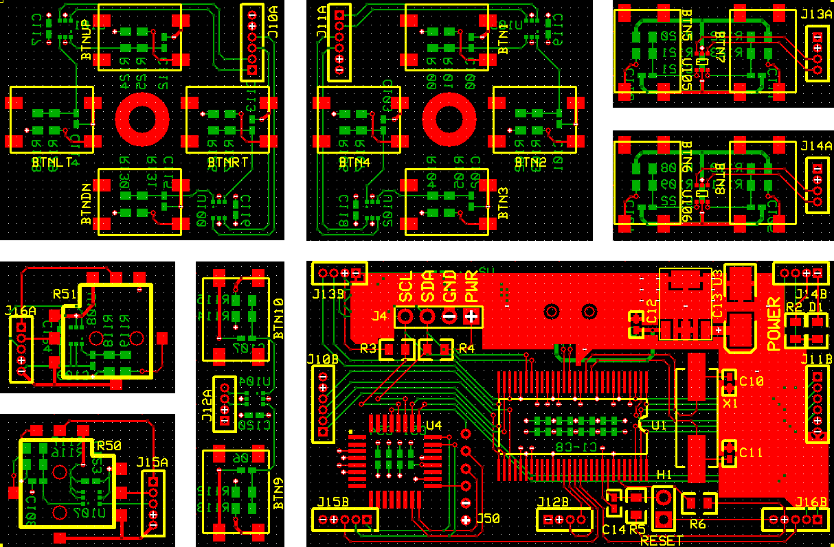 Video Game Controller PCB Top, Bottom and Silkscreen Layers