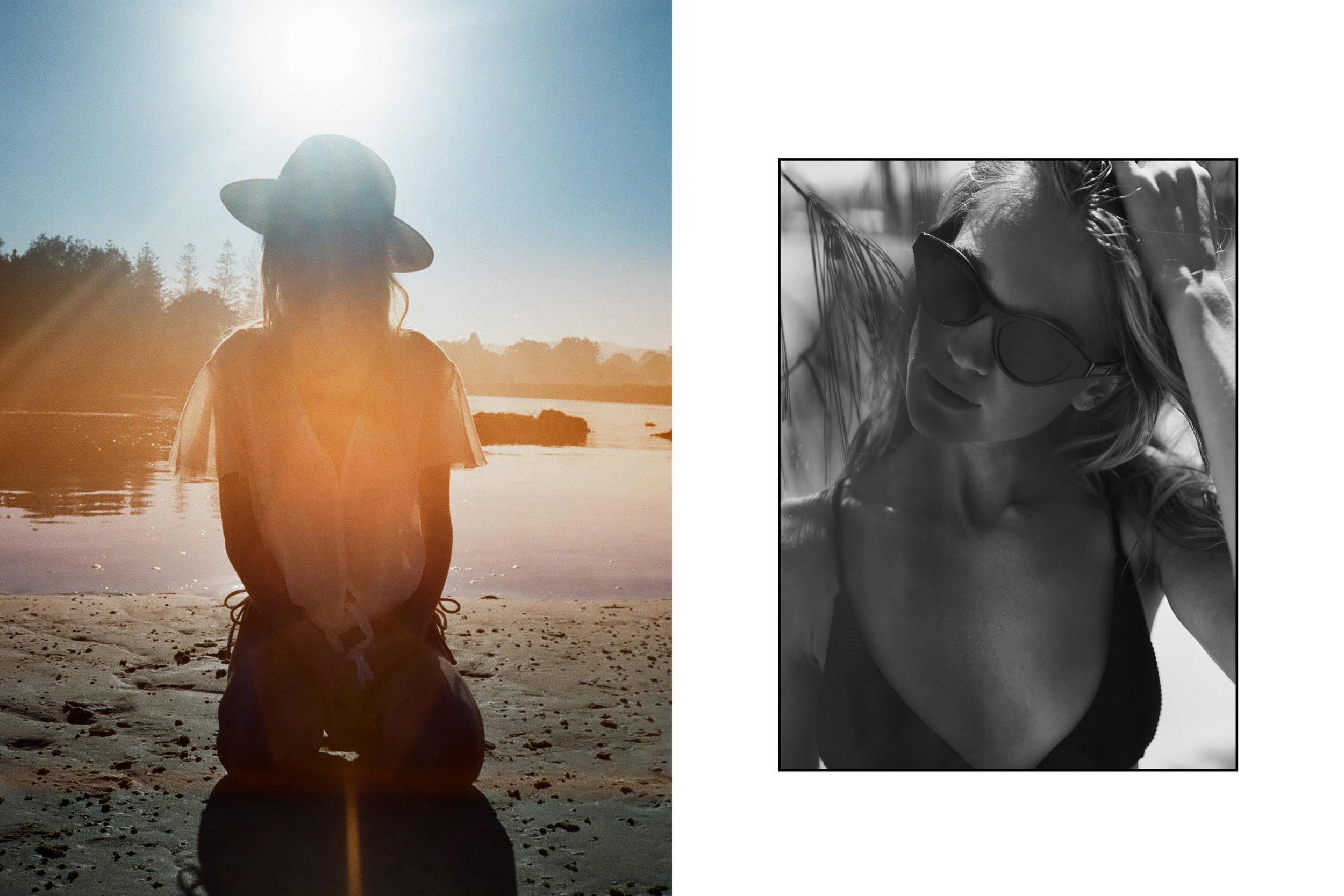 Left: Bikini - San Taylor, Top - Rue Stiic, Hat - Fallen Broken Street.  Right: Bikini - San Taylor, Sunglasses - Sabre