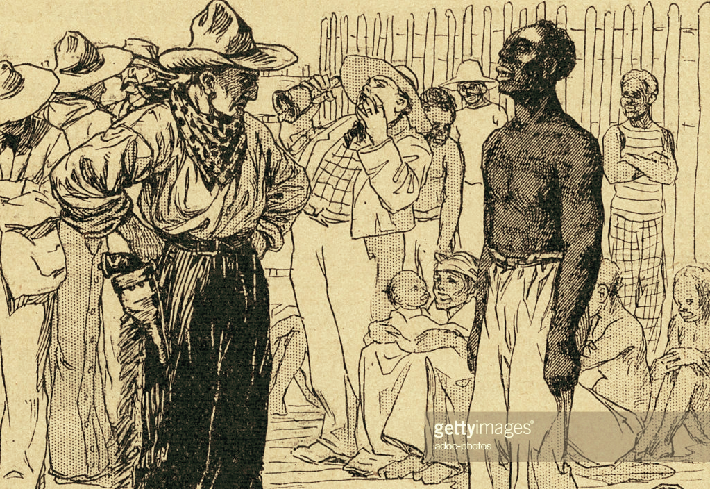 "(""The purchase of a slave on a slave market in the South of the United States. In the 19th century,"" 1900, https://www.gettyimages.co.uk/detail/news-photo/the-purchase-of-a-slave-on-a-slave-market-in-the-south-of-news-photo/526782316#/the-purchase-of-a-slave-on-a-slave-market-in-the-south-of-the-united-picture-id526782316)"