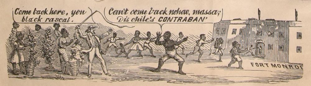 (Illustration from a Civil War Envelope preserved in a scrapbook of Civil War memorabilia at the American Antiquarian Society, http://www.americanantiquarian.org/Freedmen/Intros/contrabands.html)