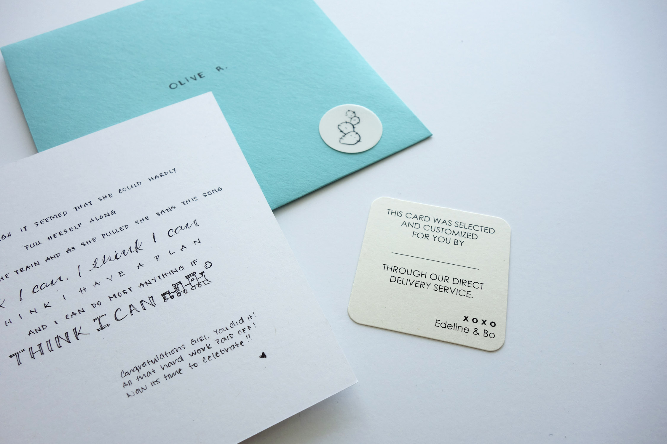 A direct delivery tag lets your recipient know the card is from you.