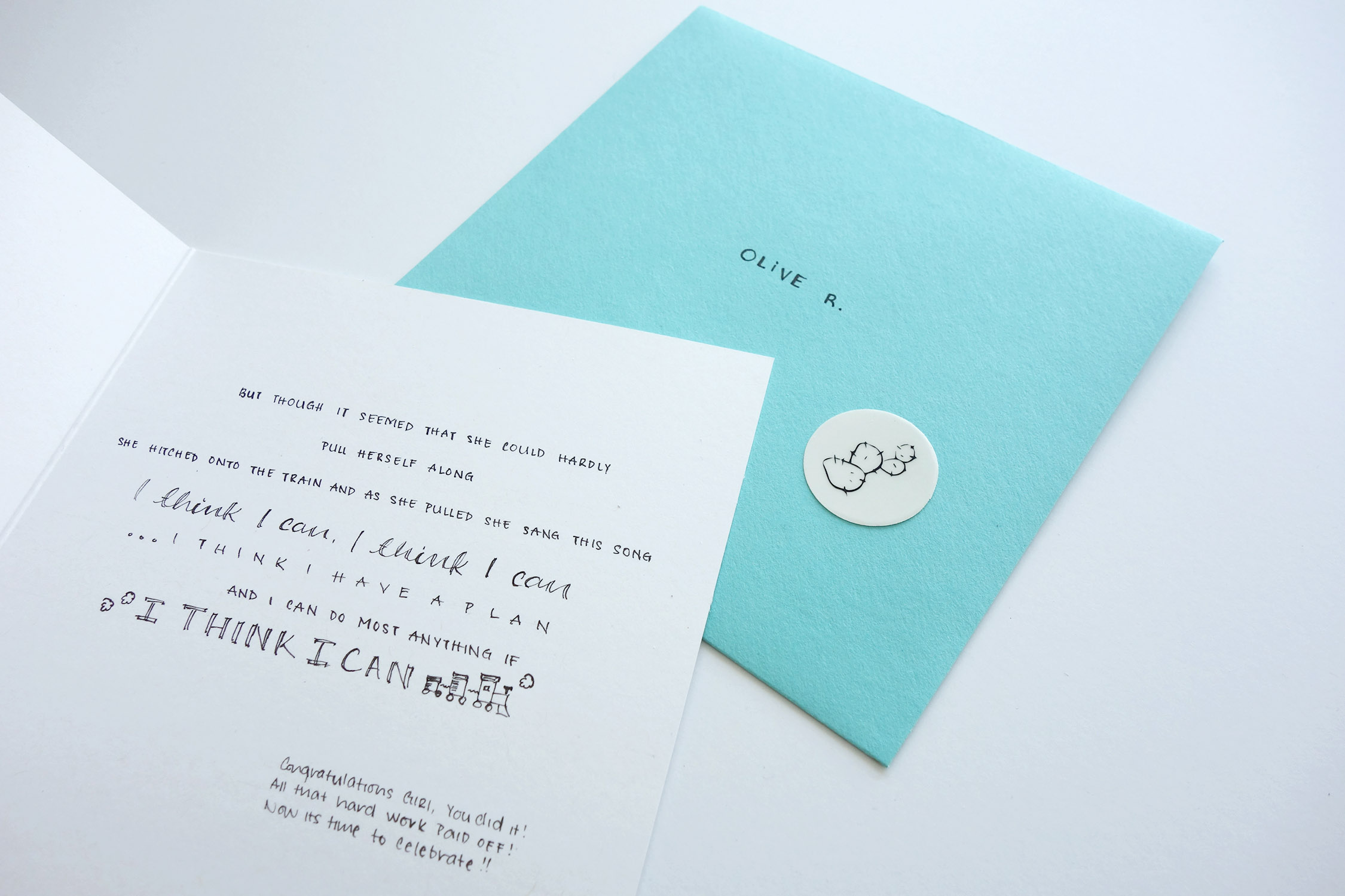 Your card is paired with its matching envelope and sealed with a sticker of our logo.