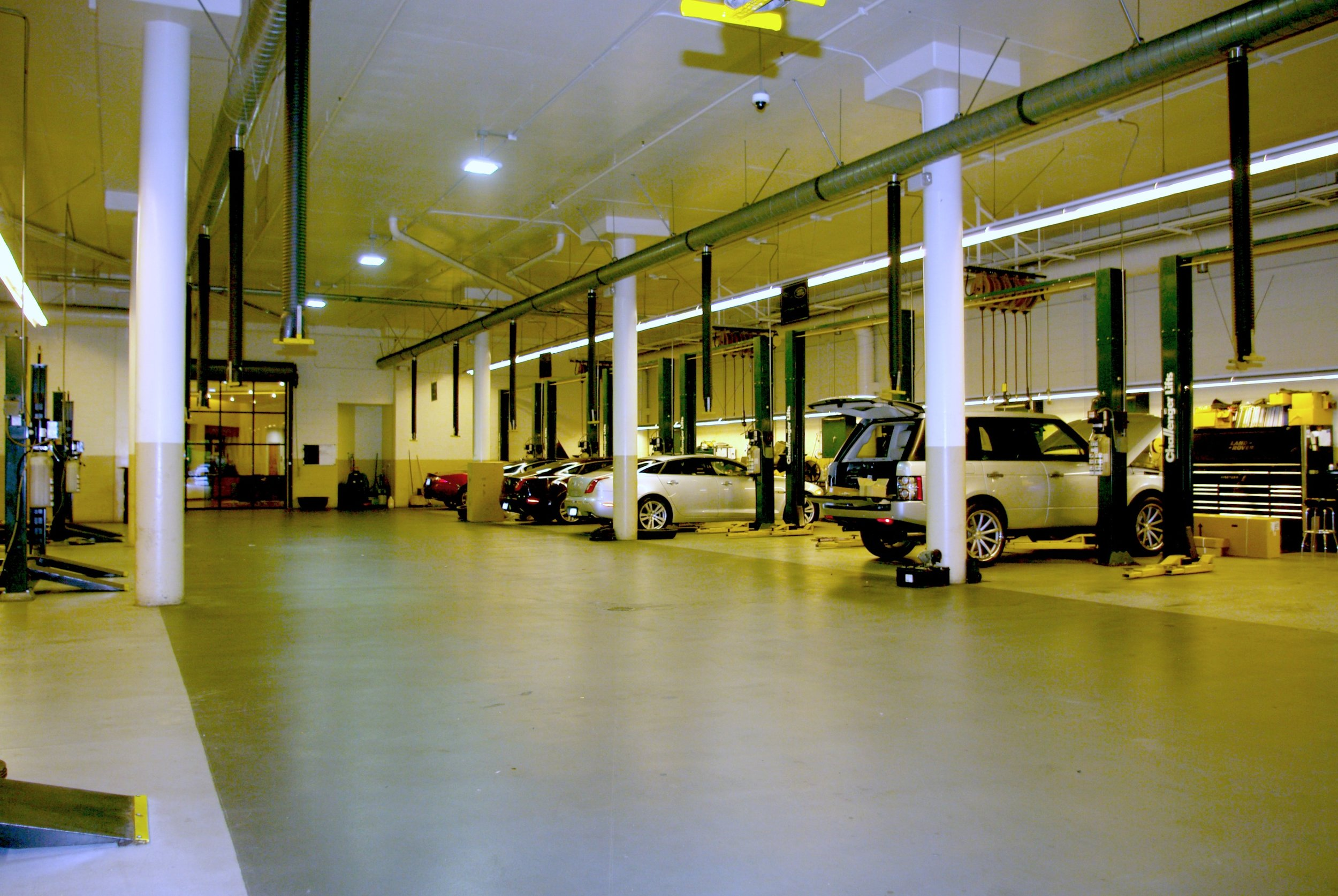 AFTER – LED lighting retrofit of the repair bays.