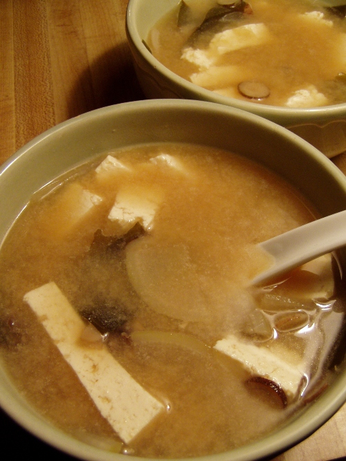 Lucky local soup: Jorinji Red Miso soup with local kombu seaweed, burdock, daikon and Ota Tofu