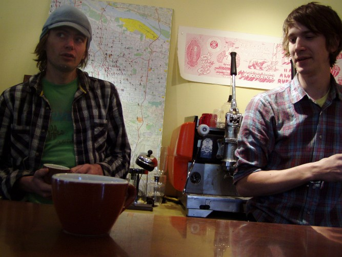 Courier Coffee owner Joel Domreis (left) and Alex Geddes