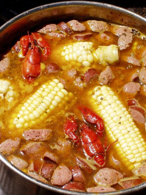 Spicy crawfish campfire stew from last summer