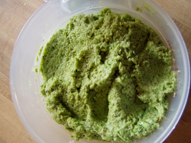 And made this -- garlic scape pesto from the hardnecks finishing off in the backyard.