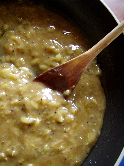 I made them into gooseberry chutney with mustard seeds and all kinds of curry spices.