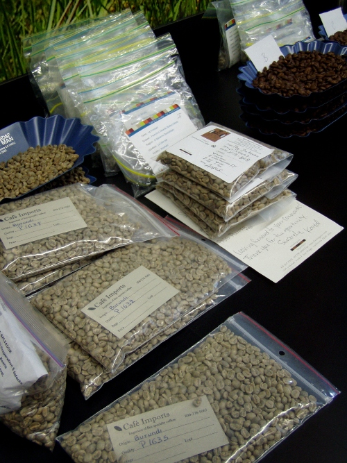Portland Roasting Coffee Company regularly roasts small samples of beans from farms from around the world.