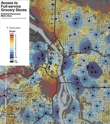 Food desert map of Portland