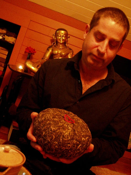 Paul Rosenberg aka the Tea Monk with a rare 8-pound Golden Melon aged puerh from Yunnan Province